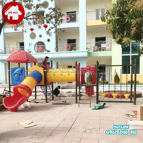 Nhà liên hoàn cầu trượt ngoài trời 2 khối ống chui HB10-008-Thực tế-1